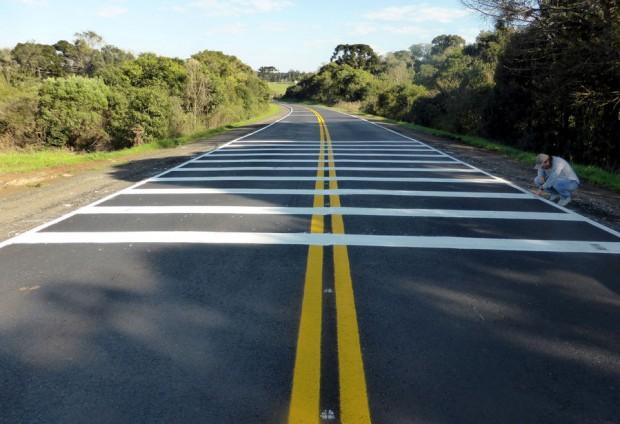 Faixas pintadas no pavimento ajudam a reduzir a velocidade dos carros na região do parque. Foto: Divulgação/Assessoria
