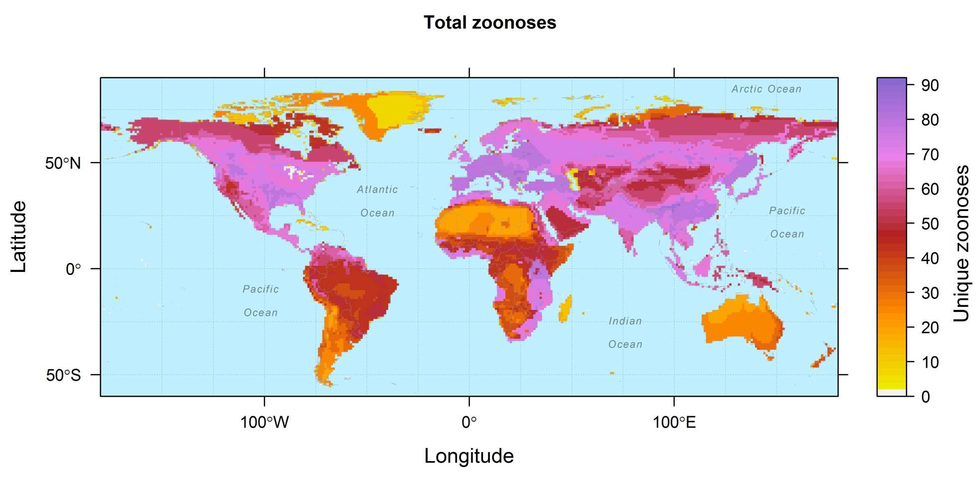 O mapa mostra a prevalência geográfica das 150 zoonoses incluídas no estudo. DREW KRAMER