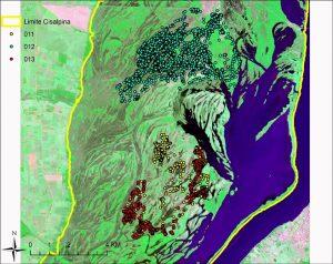 Exemplo dos dados obtidos, em um mapa de localizações de três queixadas monitoradas. Os pontos em azul correspondem a três meses do indivíduo 12, e os pontos em amarelo e vermelho correspondem a 30 dias de localizações dos indivíduos 11 e 13. Foto: Arquivo do pesquisador