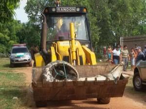 Animal foi retirado do rio em Calçoene com uma retroescavadeira.  Foto: Reprodução/TV Amapá)